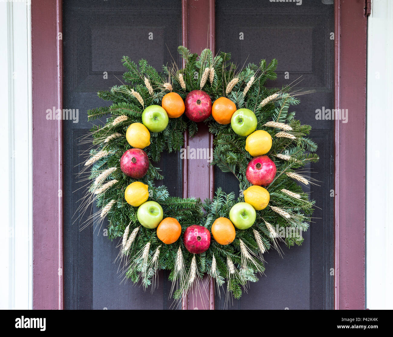 Christmas Wreath Decoration Made Of Fruit Including Red And Green