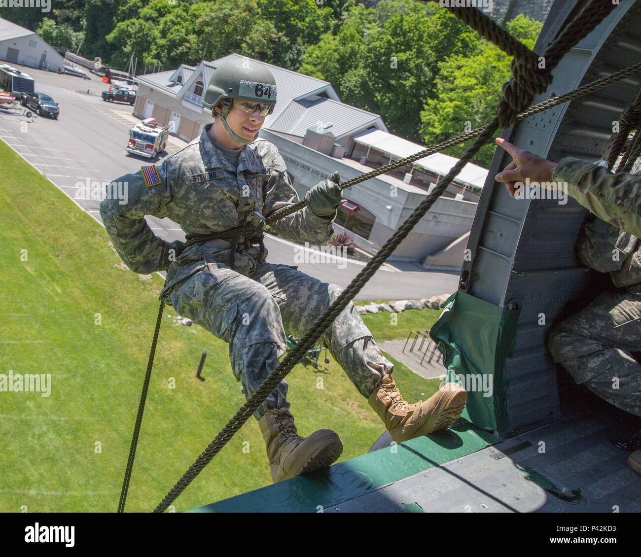 Us Military Academy Cadets Conduct Aircraft Rappel Training At