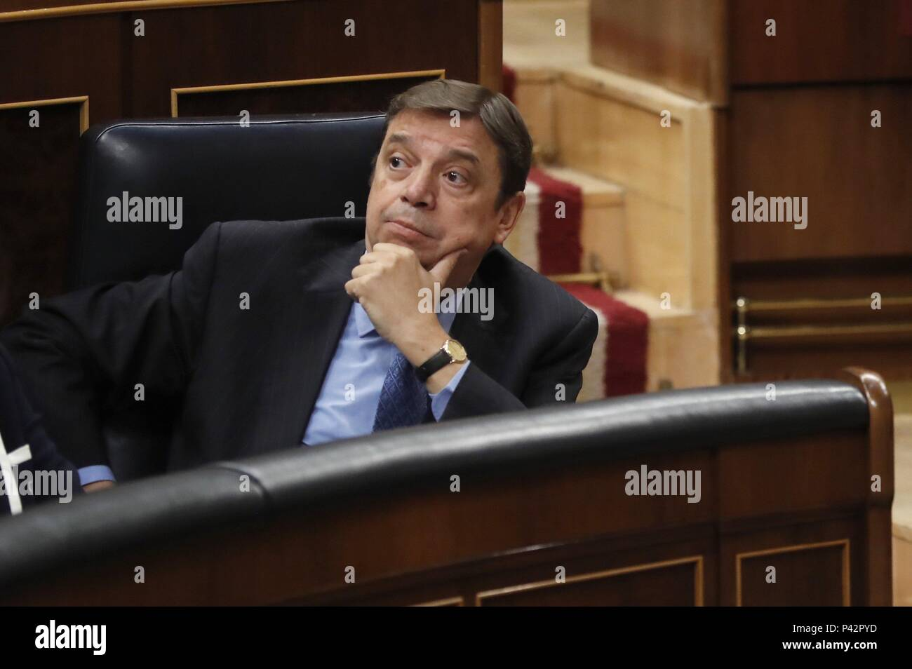 Madrid, Spain. 20th June, 2018. Spanish Minister of Agriculture, Luis Planas, attends question time at the Lower House in Madrid, Spain, 20 June 2018. Credit: Javier Lizon/EFE/Alamy Live News - Stock Image