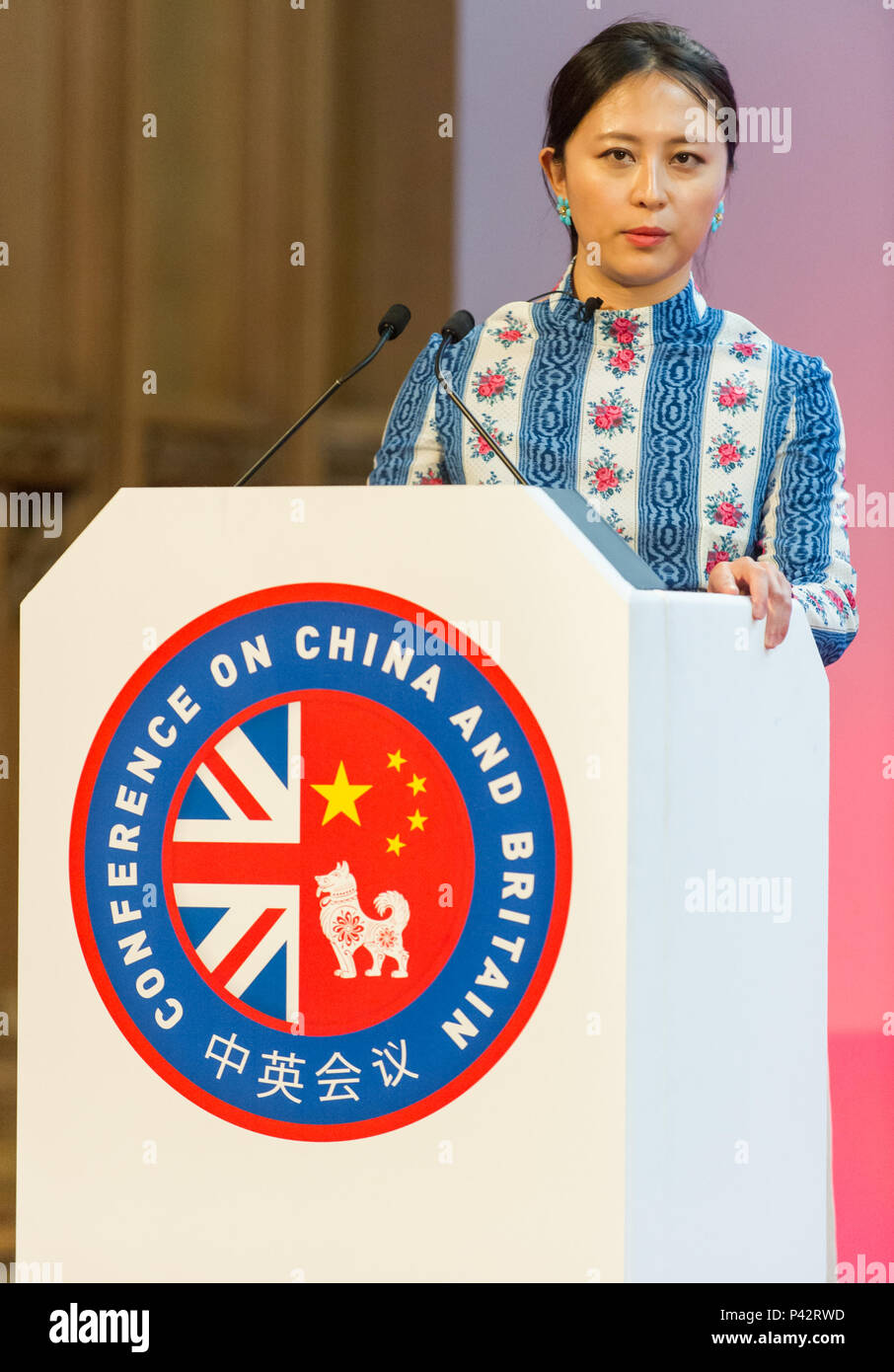 Dr Keyu Jin, Associate Professor of Economics at the London School of Economics, during her intervention at the Margaret Thatcher Conference on China and Britain at Guildhall. - Stock Image
