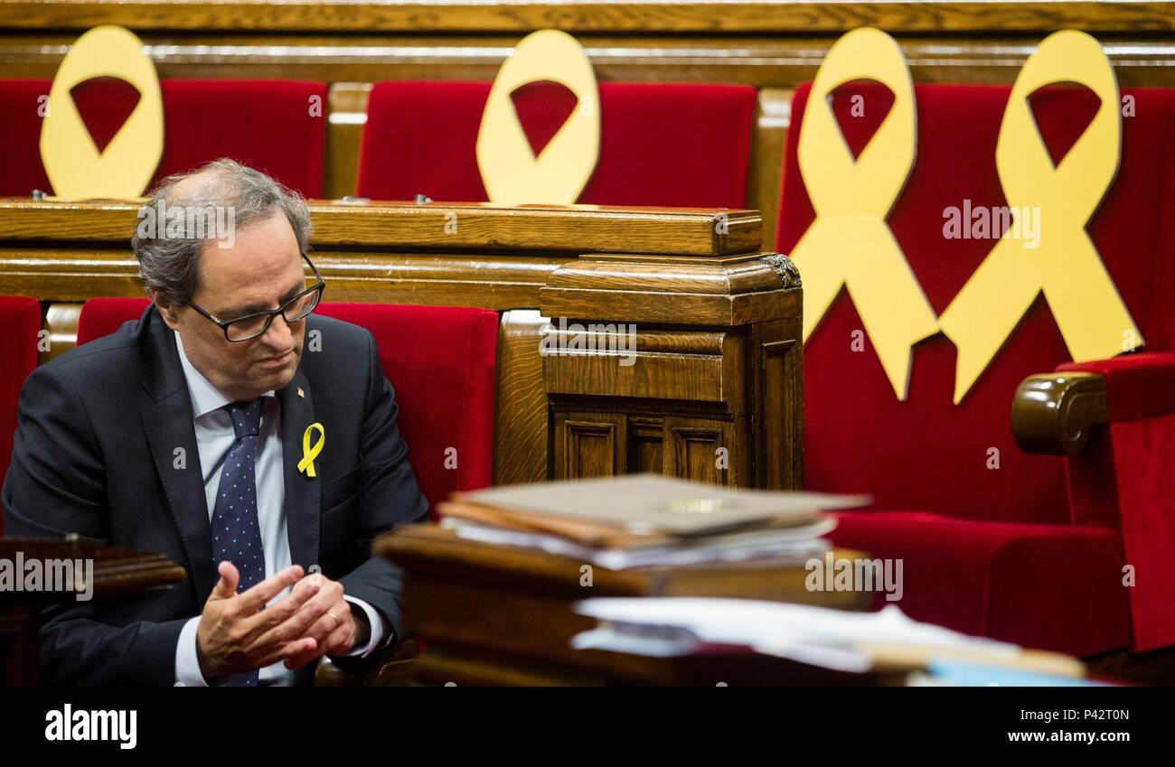 Catalan regional president Quim Torra attends his first question time at the regional Parliament in Barcelona, Spain, 20 June 2018. EFE/ Quique Garcia - Stock Image