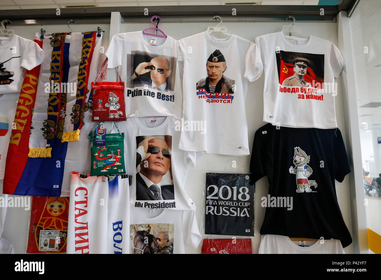 0d8115cd93a Volgograd, Russia. 20th June, 2018. Putin merchandise is seen next to World