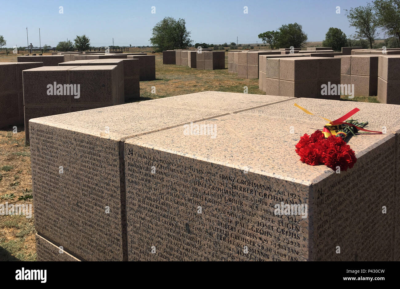 Rossoschka, Russia. 16th June, 2018. Flowers are lying on a memorial stone for fallen Germans in the military cemetery Rossoschka. Here not only soldiers of the German Wehrmacht are buried, but also members of the Red Army. Only a narrow street separates today's opponents. The remote memorial commemorates one of the worst chapters in World War II: the Battle of Stalingrad. Credit: Martin Moravec/dpa/Alamy Live News - Stock Image