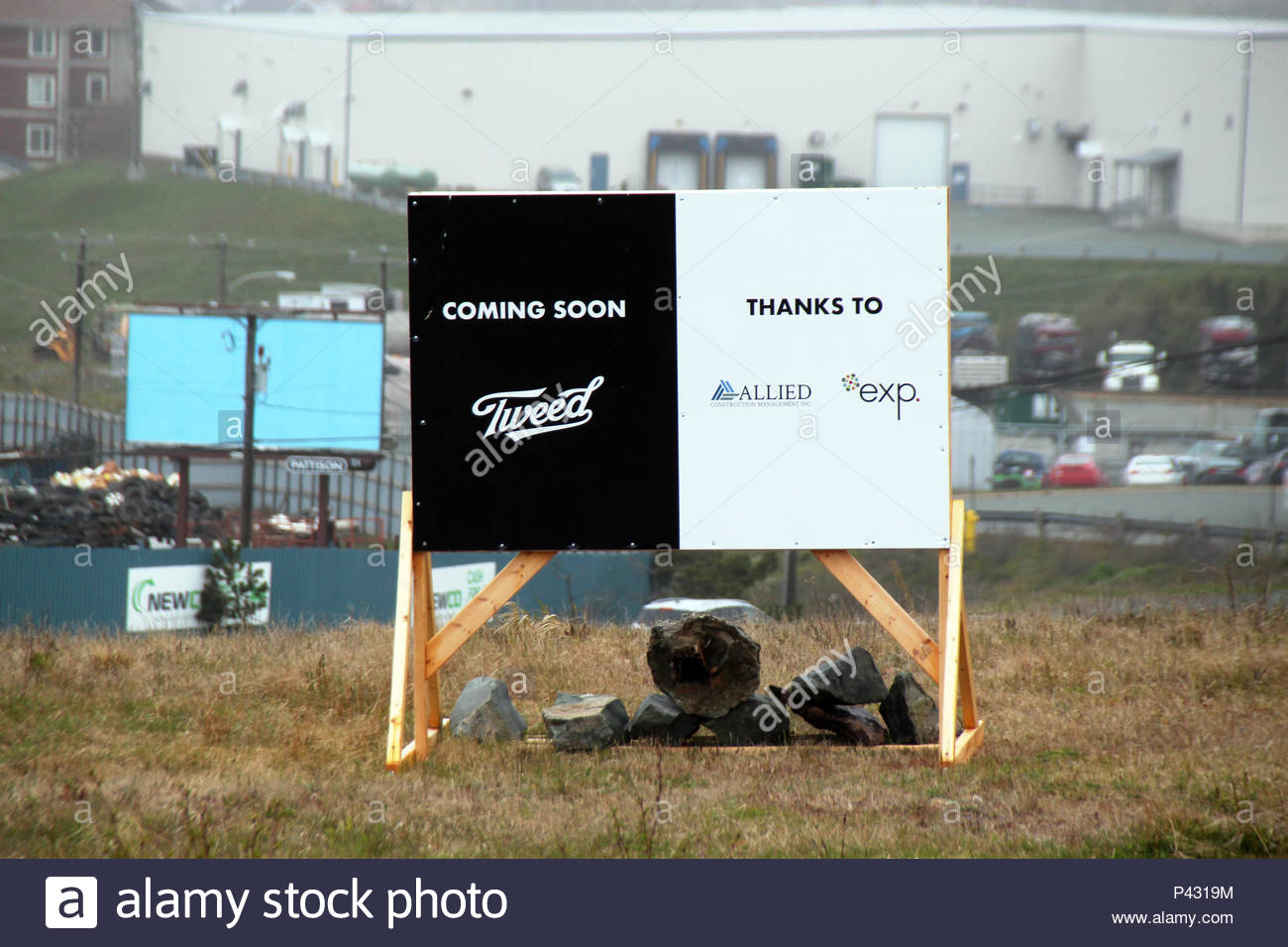 03 June 2018, Canada, St. John's: A sign of the Canadian cannabis company Tweed indicates a future production facility. The senate has recently decided to legalise Cannabis.- NO WIRE SERVICE - Photo: Christina Horsten/dpa - Stock Image
