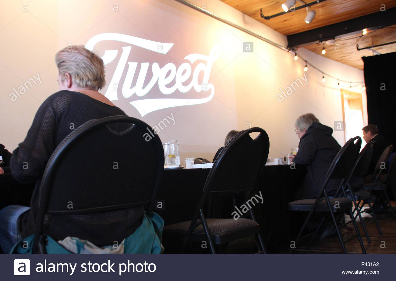 03 June 2018, Canada, St. John's: People at a job fair are curious about the Canadian cannabis company Tweed. The senate has recently decided to legalise Cannabis.- NO WIRE SERVICE - Photo: Christina Horsten/dpa - Stock Image
