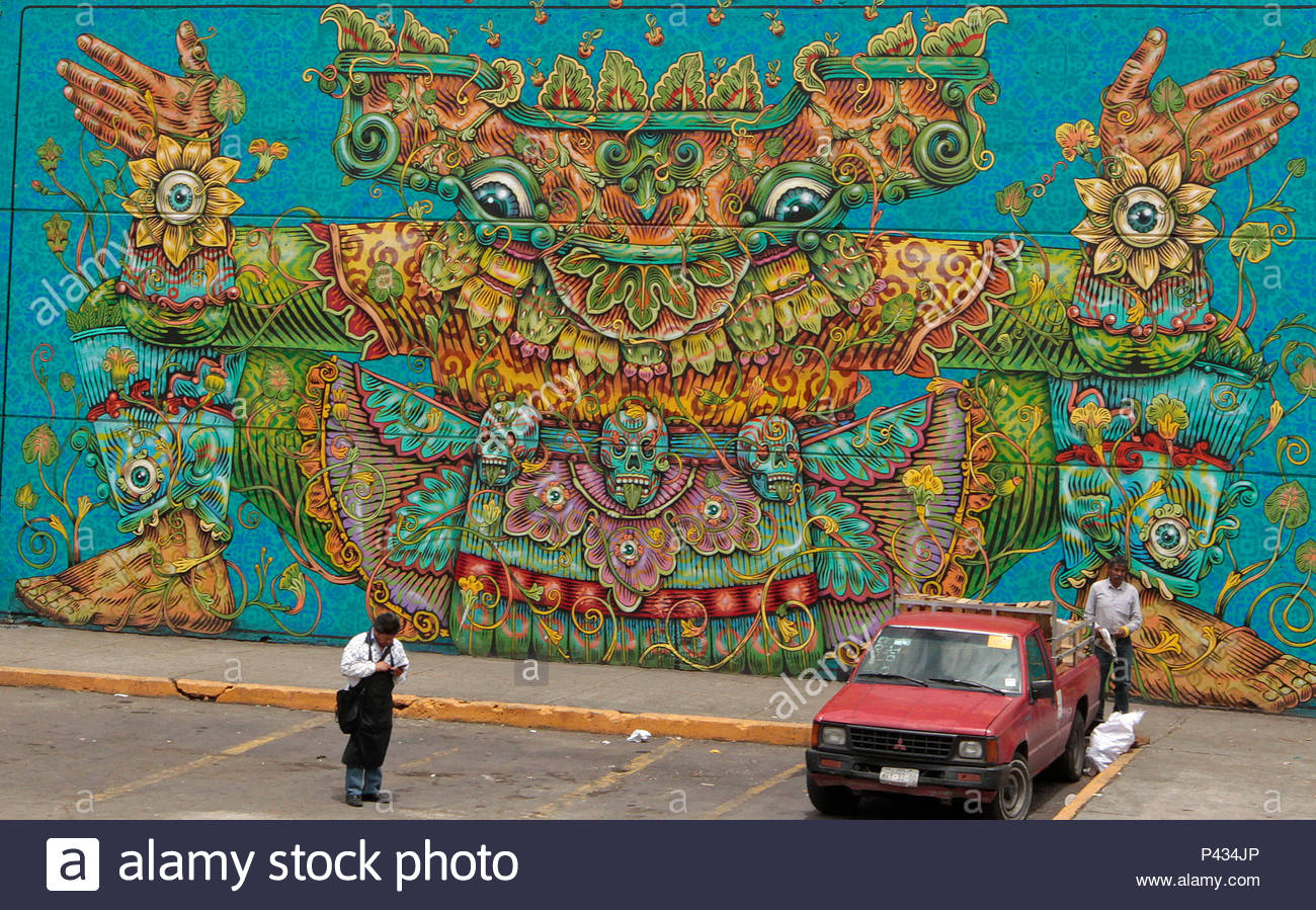 General view of a mural at the central de abasto in mexico city mexico
