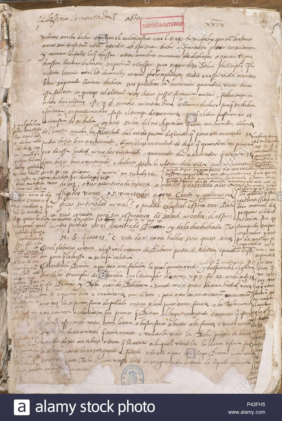 PRIMERA PAGINA DE LA CELESTINA. Author: Fernando de Rojas (c. 1470-1541). Location: BIBLIOTECA NACIONAL-COLECCION, MADRID, SPAIN. - Stock Image