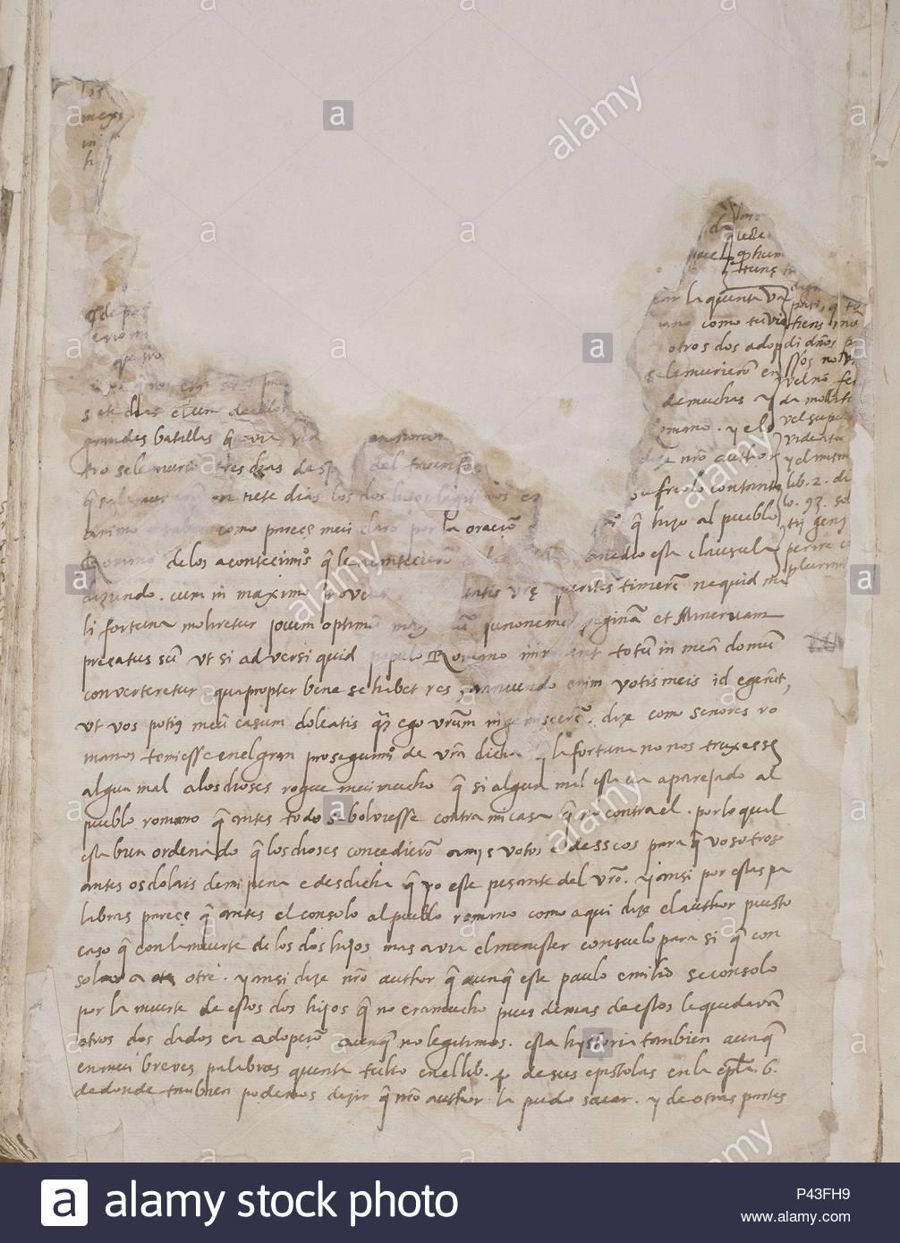 ULTIMA PAGINA DE LA CELESTINA. Author: Fernando de Rojas (c. 1470-1541). Location: BIBLIOTECA NACIONAL-COLECCION, MADRID, SPAIN. - Stock Image