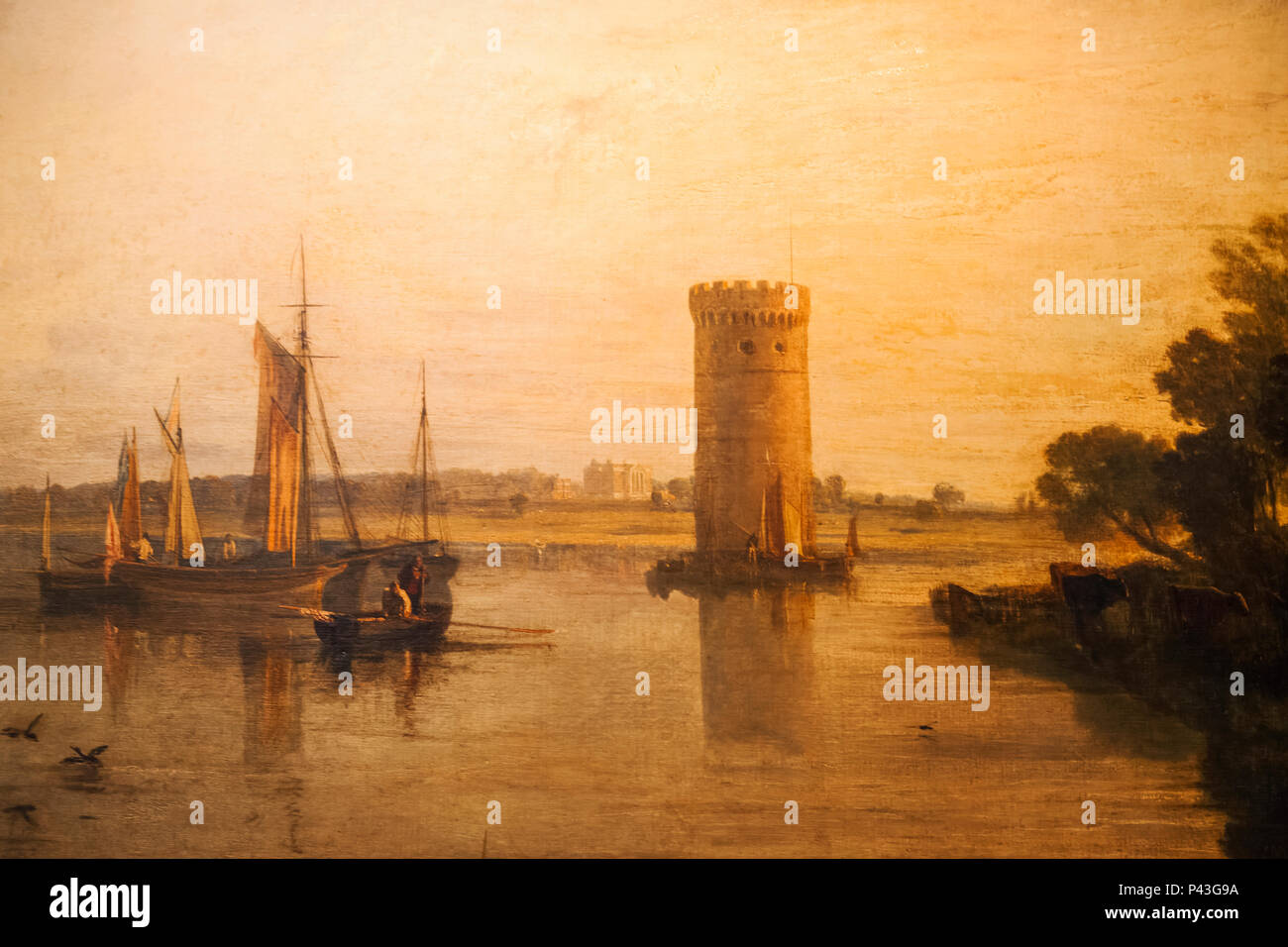 Painting of Tabley House and Lake by JWM Turner - Stock Image