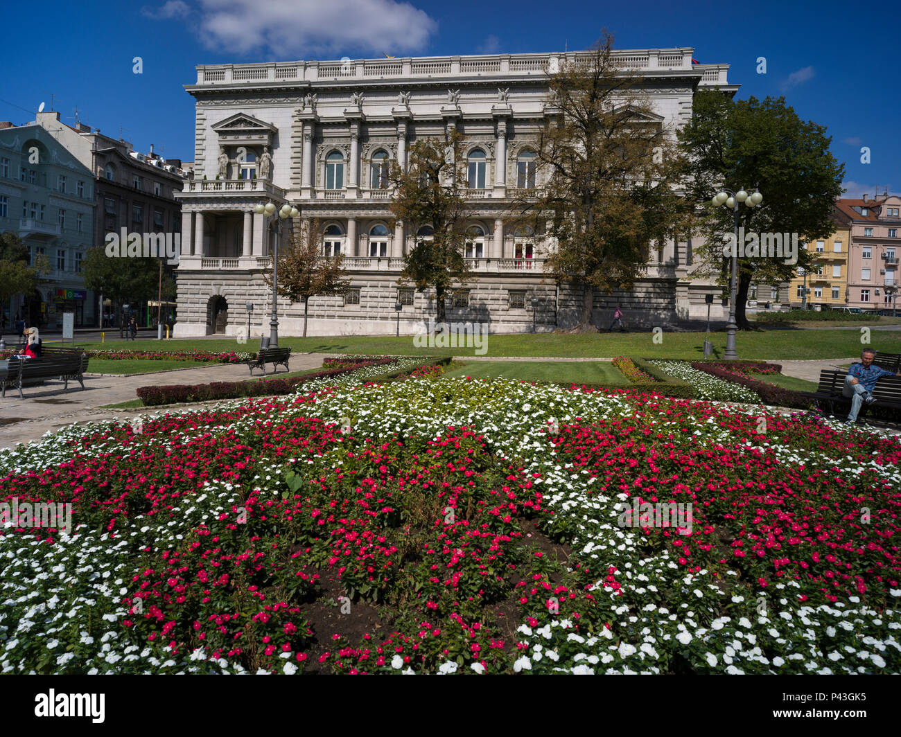 Flowers in garden outside City Assembly building, Belgrade, Serbia ...