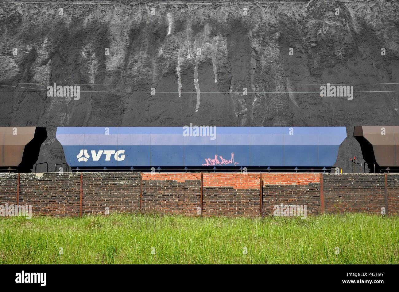 Graffiti on freight cars on 06.05.2016 in coking plant Bottrop - Germany. | usage worldwide - Stock Image