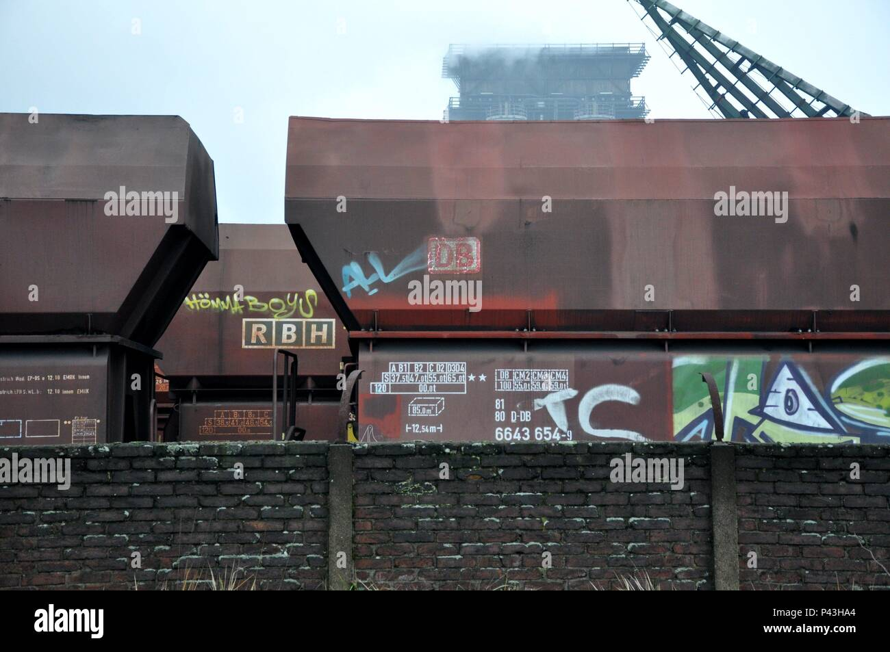 Graffiti on freight cars on 06.01.2016 in coking plant Bottrop - Germany. | usage worldwide - Stock Image
