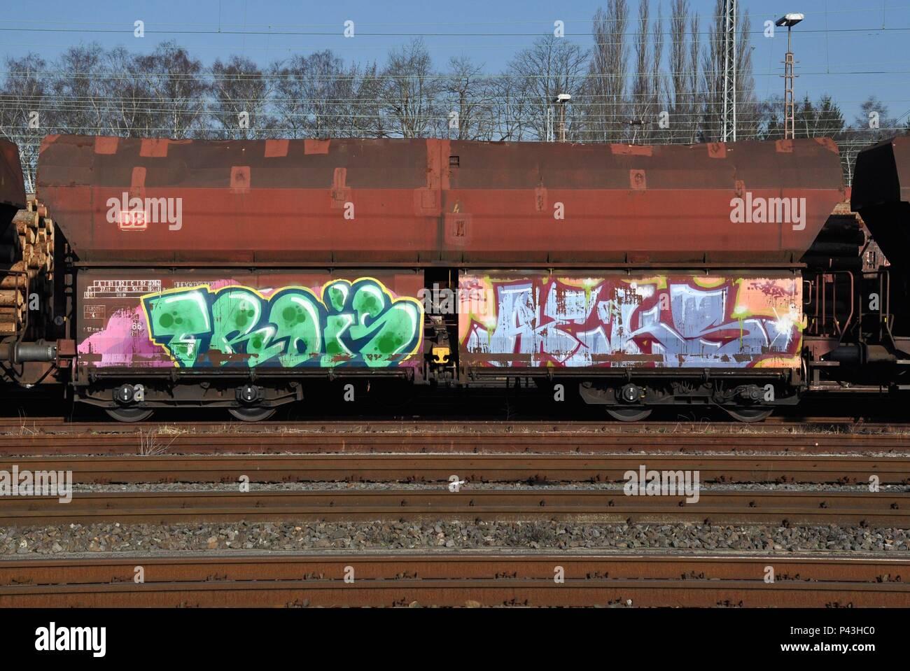 Graffiti on freight waggon on 28.03.2015 in Schwerte/Ruhr - Germany. | usage worldwide - Stock Image