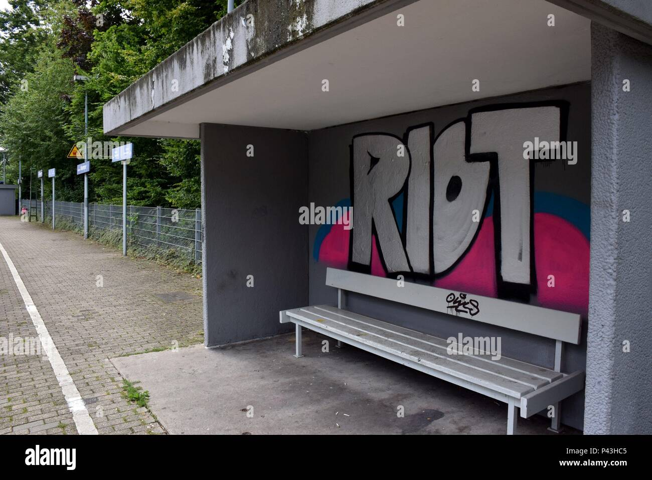 Graffiti 'riot' at railway station on 29.07.2017 in Bochum-Hamme - Germany. | usage worldwide - Stock Image
