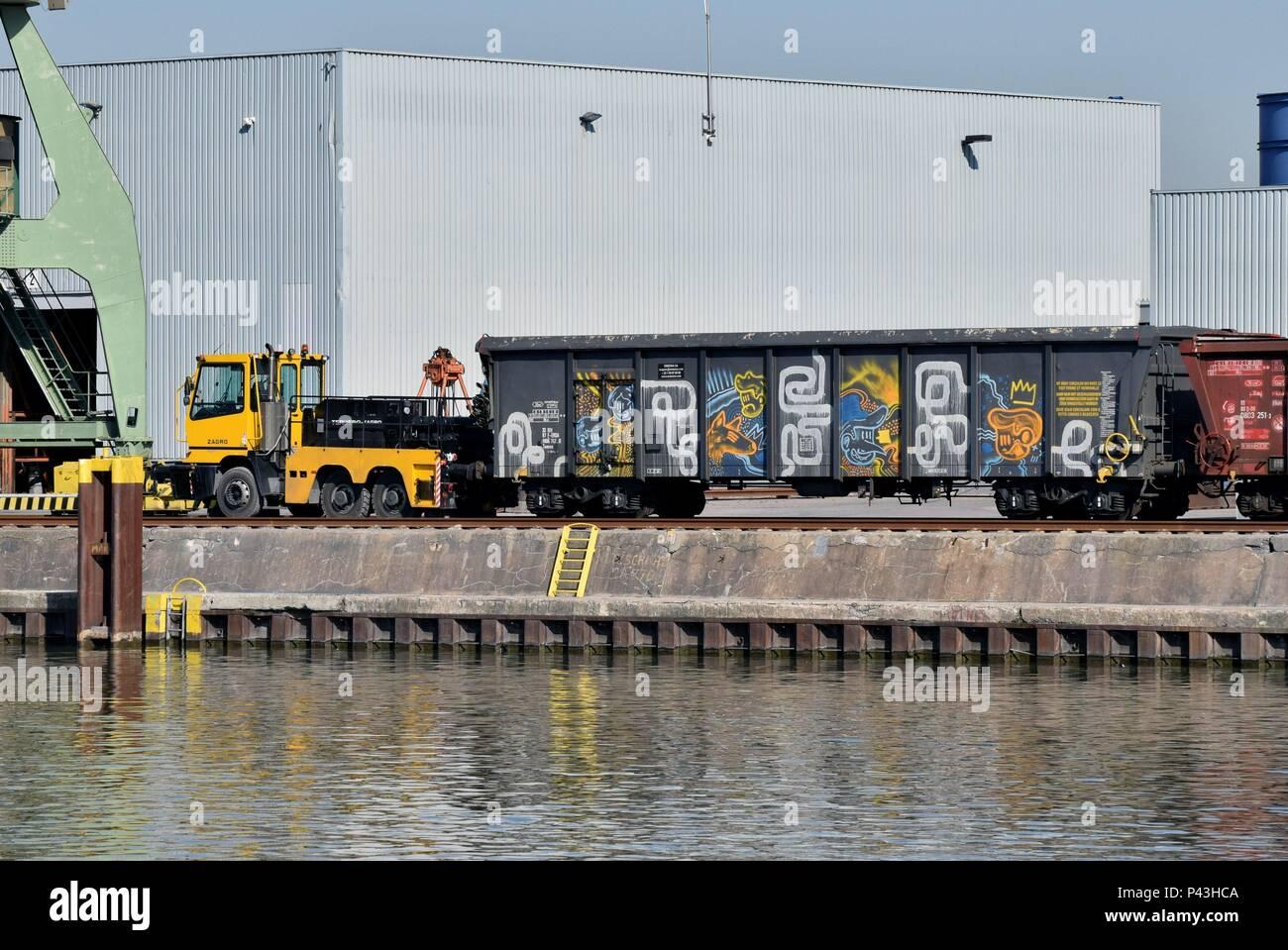 Graffiti on freight waggon on 13.03.2017 in Lünen - Germany. | usage worldwide - Stock Image