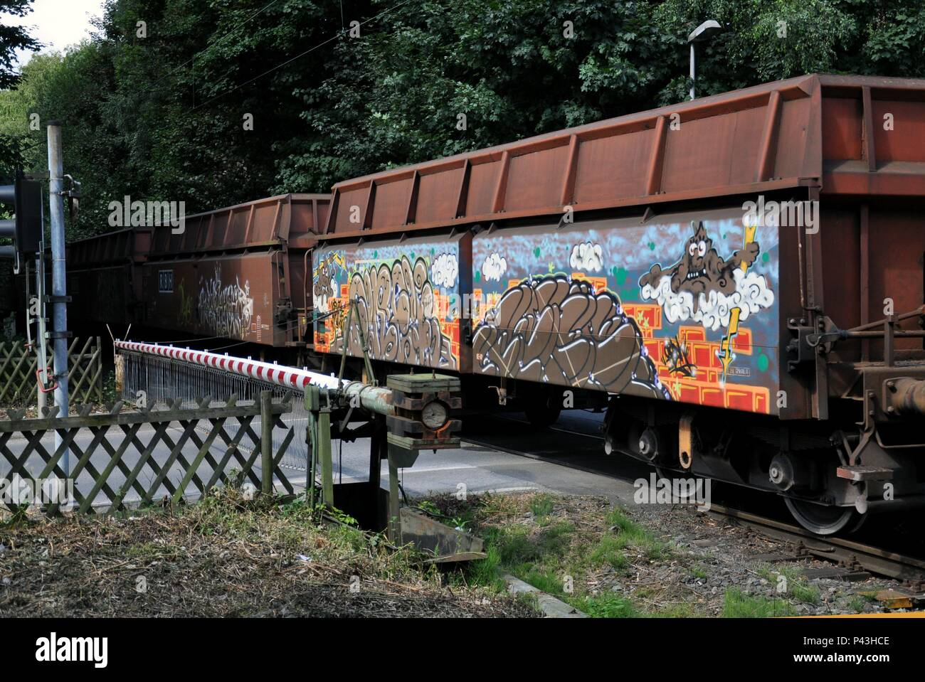 Graffiti on freight train on 10.08.2012 in Gelsenkirchen - Germany. | usage worldwide - Stock Image