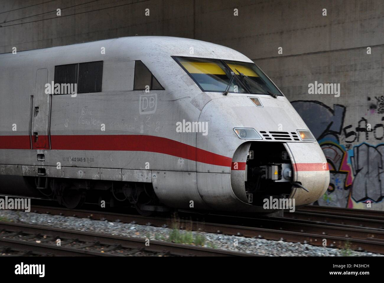 DB-Graffiti on a ICE train on 04.12.2015 in Scherte-Westhofen - Germany. | usage worldwide - Stock Image