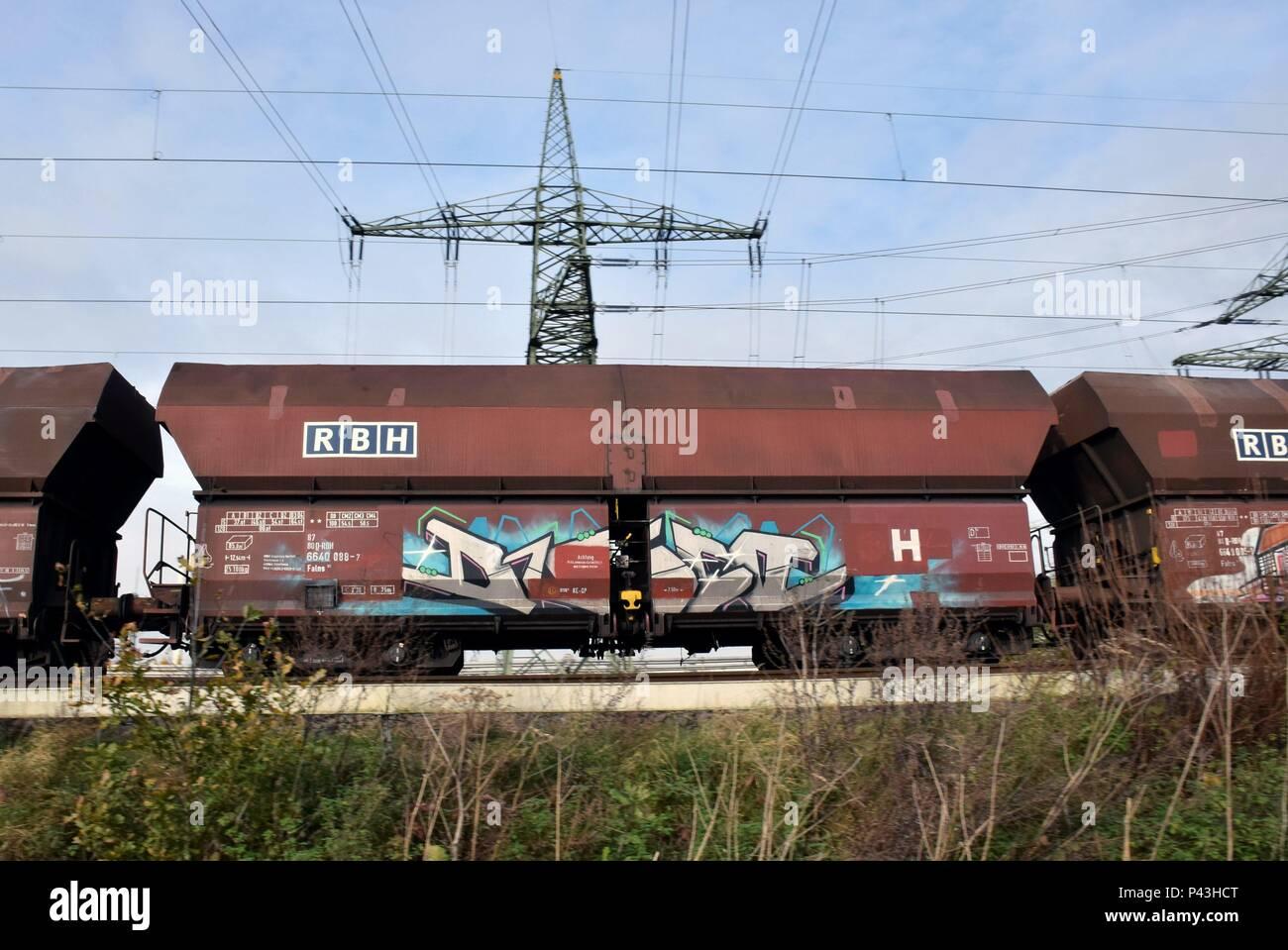 Graffiti on freight train on 14.11.2017 in Datteln - Germany. | usage worldwide - Stock Image