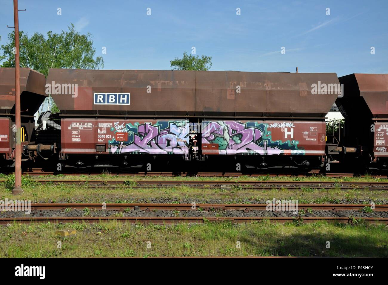 Graffiti on freight cars on 06.05.2016 at coking plant Bottrop - Germany. | usage worldwide - Stock Image