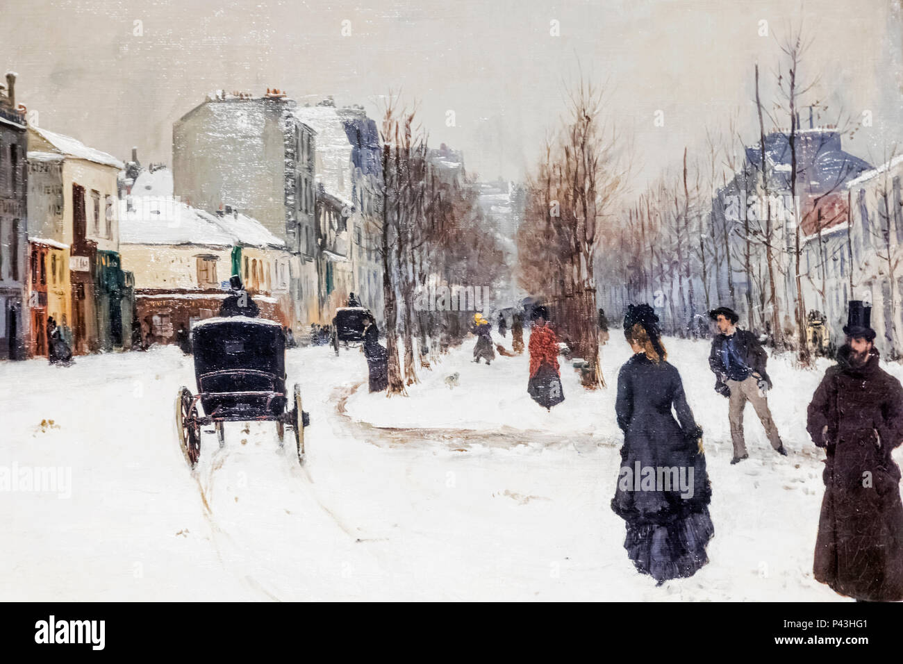 The Boulevard de Clichy under Snow N Goeneutte Medici Print