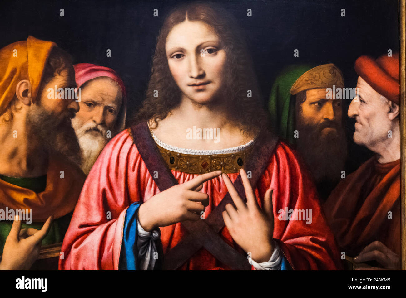 Painting of Christ Among The Doctors by Bernardino Luini dated 1515 - Stock Image