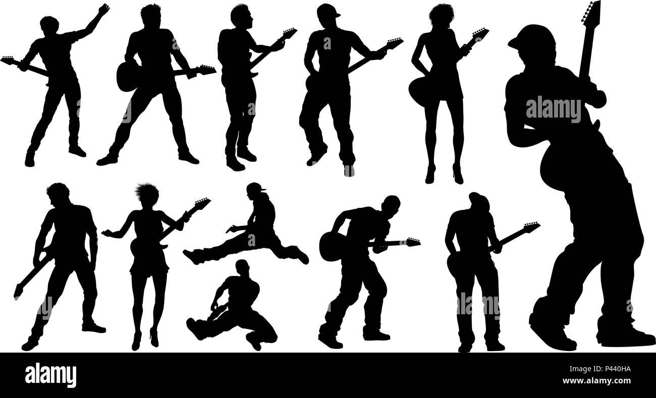 silhouette guitarist musicians set stock vector art illustration