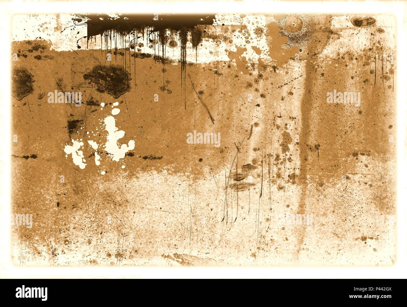 Vintage damaged glass surface in sepia tones. - Stock Image