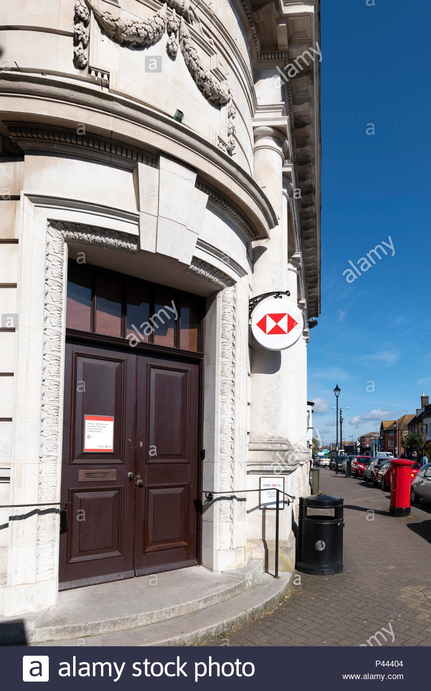 HSBC branch, High Street, Christchurch, Dorset, England, UK - Stock Image