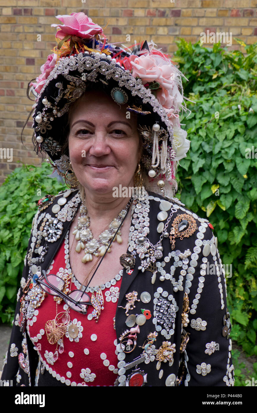 Woman member of the Original Pearly Queens and Kings Association of England. London,UK - Stock Image