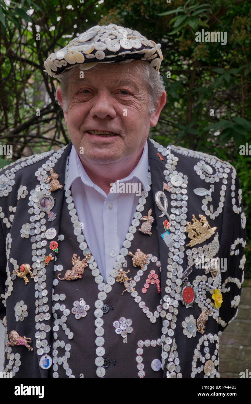 Gentleman member of the Original Pearly Queens and Kings Association of England. London,UK - Stock Image