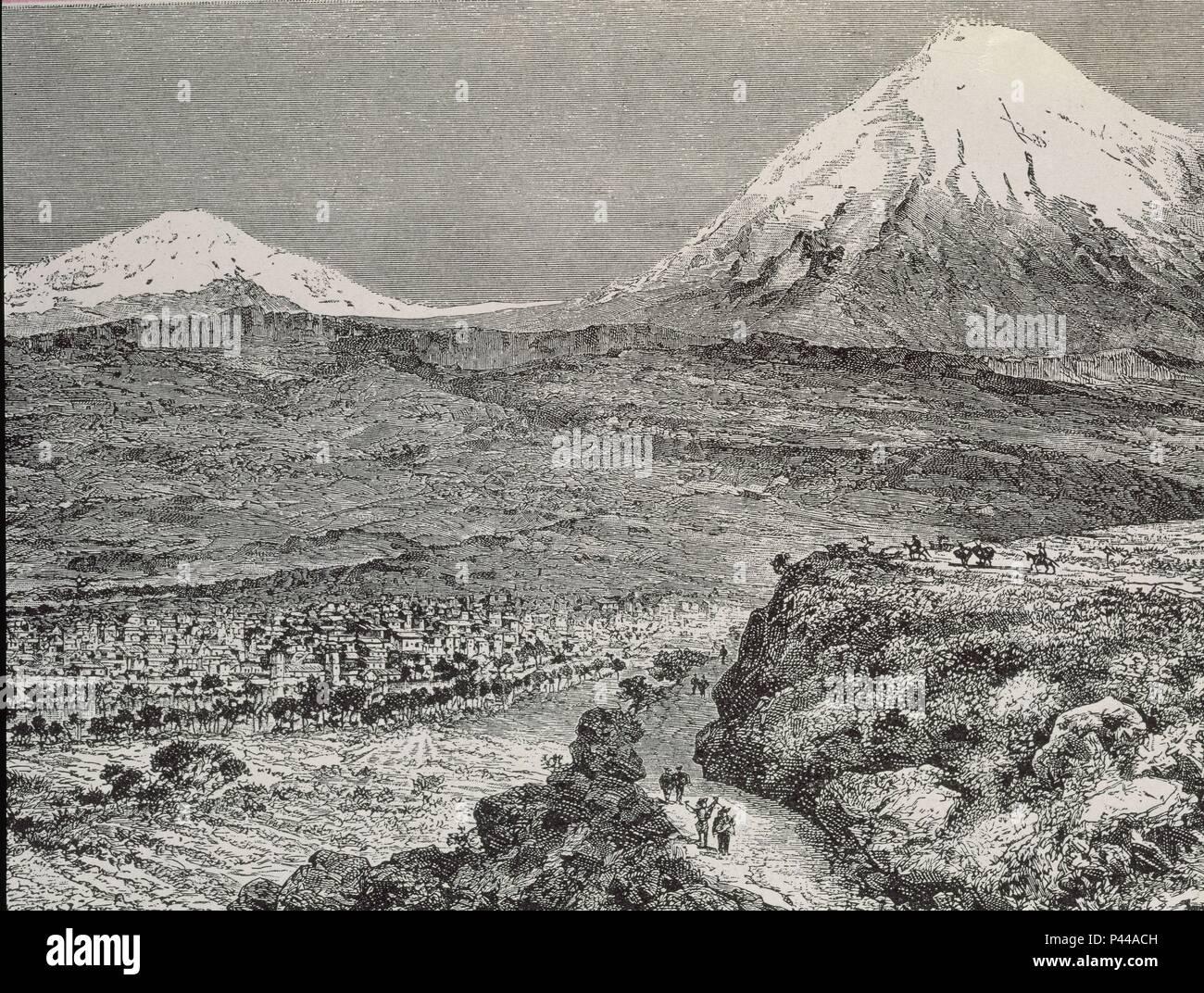 LA ILUSTRACION 1885 - VISTA DE LA PAZ SITUADA AL PIE DE LA CORDILLERA REAL A 3500 M DE ALTURA. Location: BIBLIOTECA NACIONAL-COLECCION, MADRID, SPAIN. - Stock Image