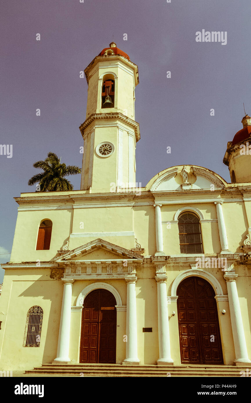 Cienfuegos, Cuba - Cathedral of the Immaculate Conception, Cienfuegos city, Cuba. Image with vintage and yesteryear effect - Stock Image