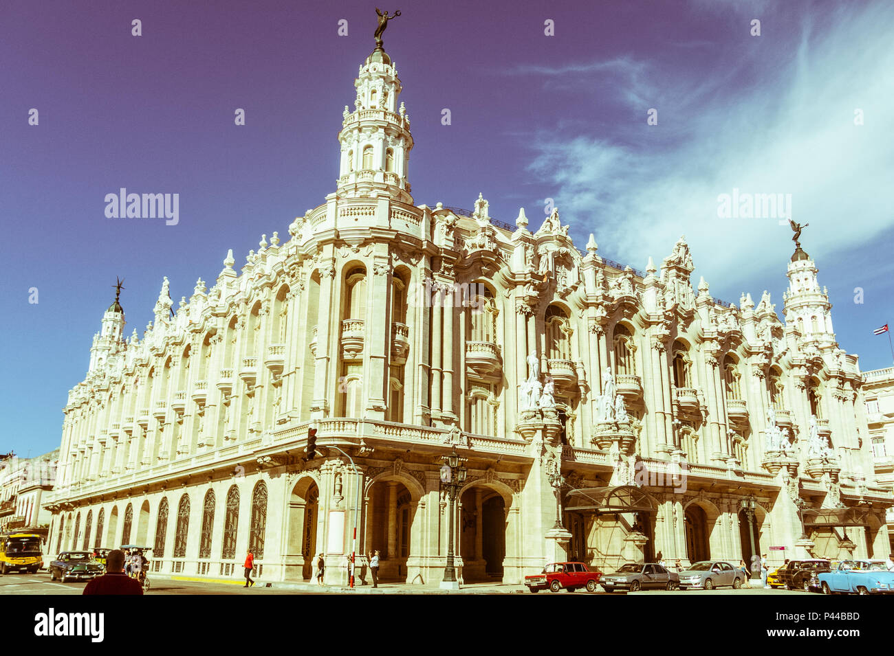 HAVANA, CUBA - JANUARY 16, 2017: Great Theatre of Havana Alicia Alonso in Cuba. Famous theater in Cuba. Image with vintage and yesteryear effect - Stock Image