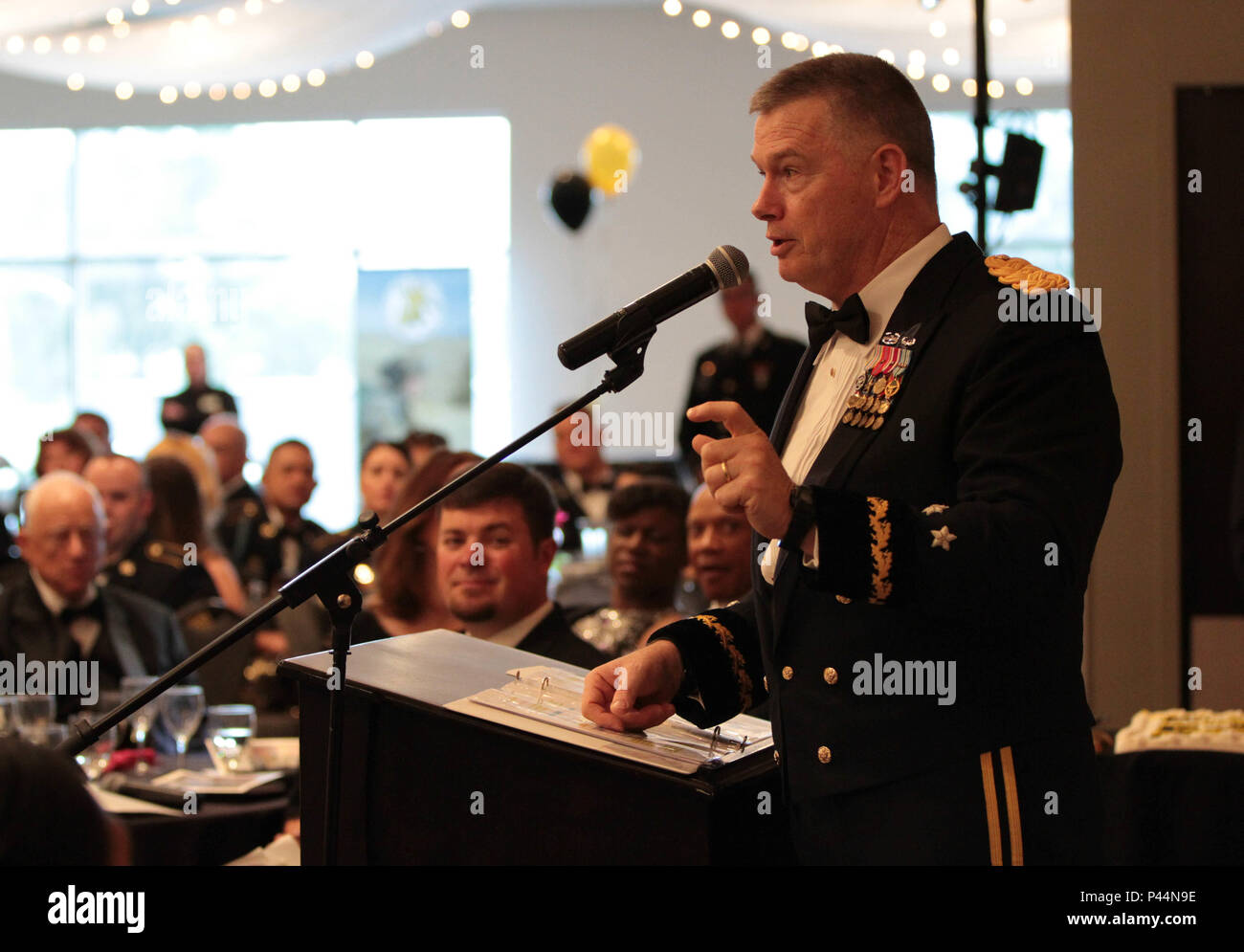 The 76th Operational Response Command (ORC), Commander, Maj. Gen. Ricky L. Waddell, hosted a Utah Army Ball in celebration of the United States Army's 241st birthday with nearly 300 people in attendance, Saturday, June 11, at the Living Planet Aquarium, Salt Lake City, Utah. - Stock Image