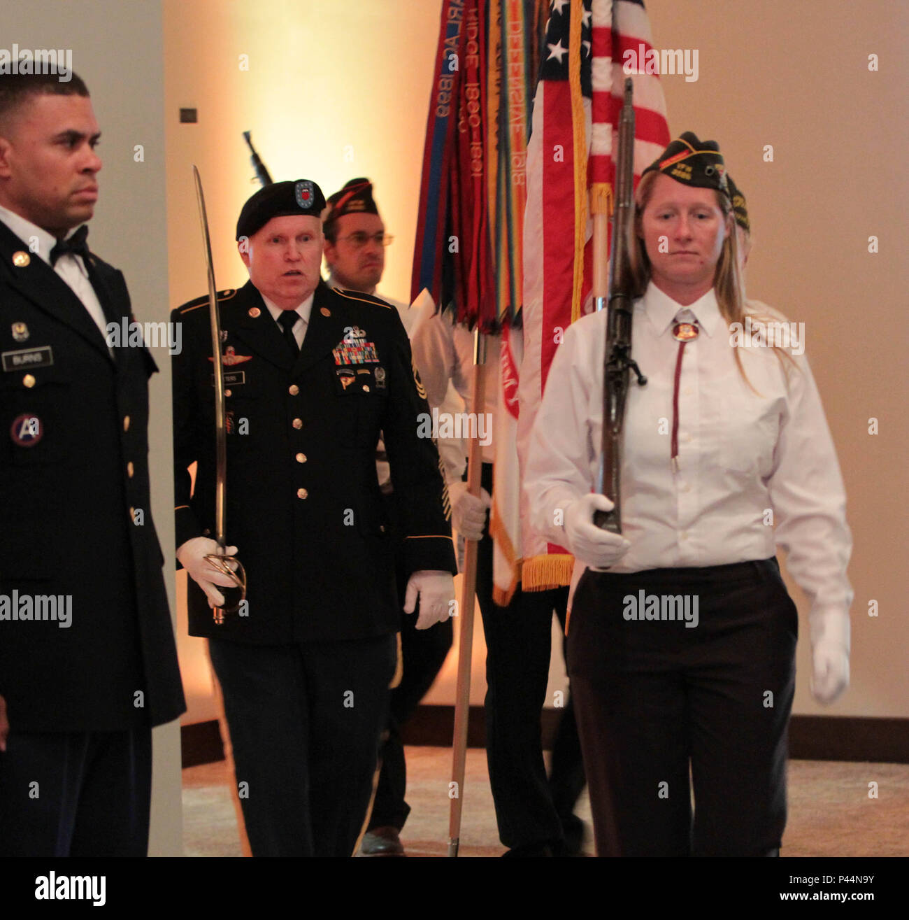 Posting of the Colors during the 76th ORC's Utah Army Ball in celebration of the United States Army's 241st birthday, held at the Living Planet Aquarium, Salt Lake City, June 11. Stock Photo