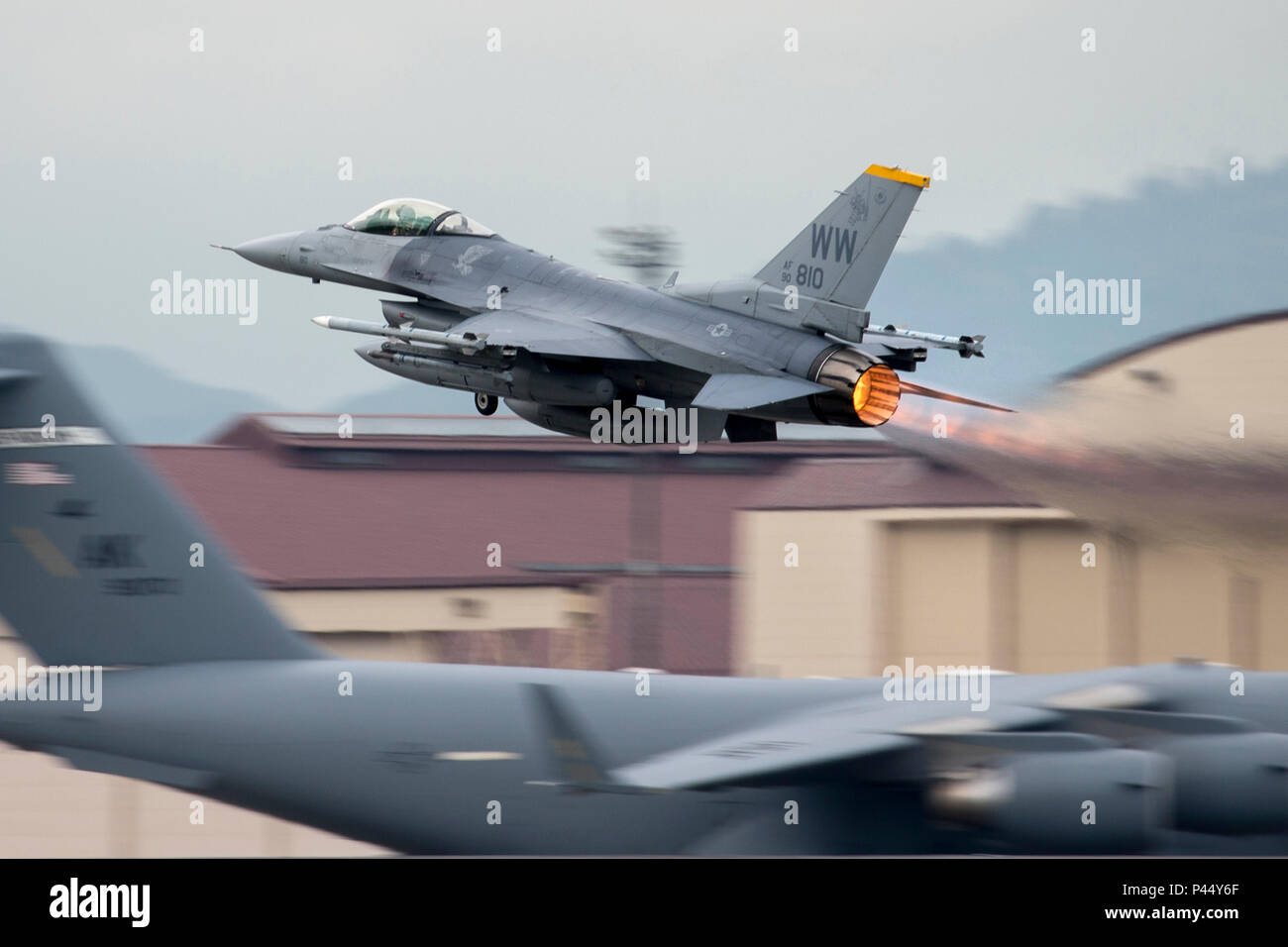 An F-16 Fighting Falcon with the 35th Fighter Wing departs