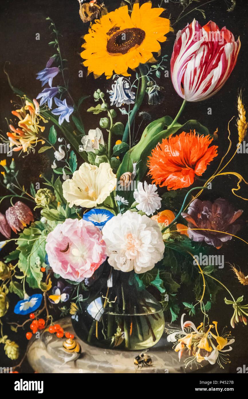 Painting of Flowers in Glass Bottle by Jan Davidsz de Heem dated 1670 Stock Photo