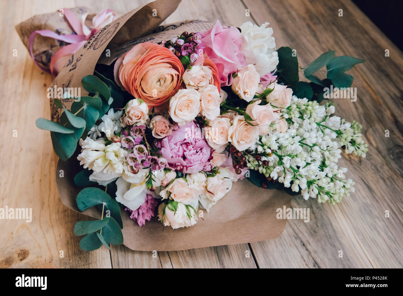Beautiful Flower Bouquet Of Fresh White Lilac Roses Ranunculus