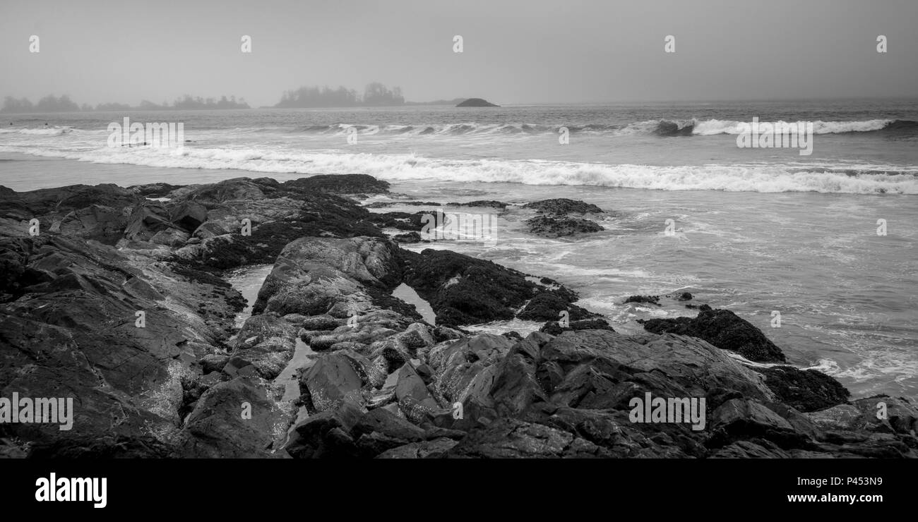 Ocean waves along shoreline, Chesterman Beach, Tofino, Vancouver Island, British Columbia, Canada Stock Photo