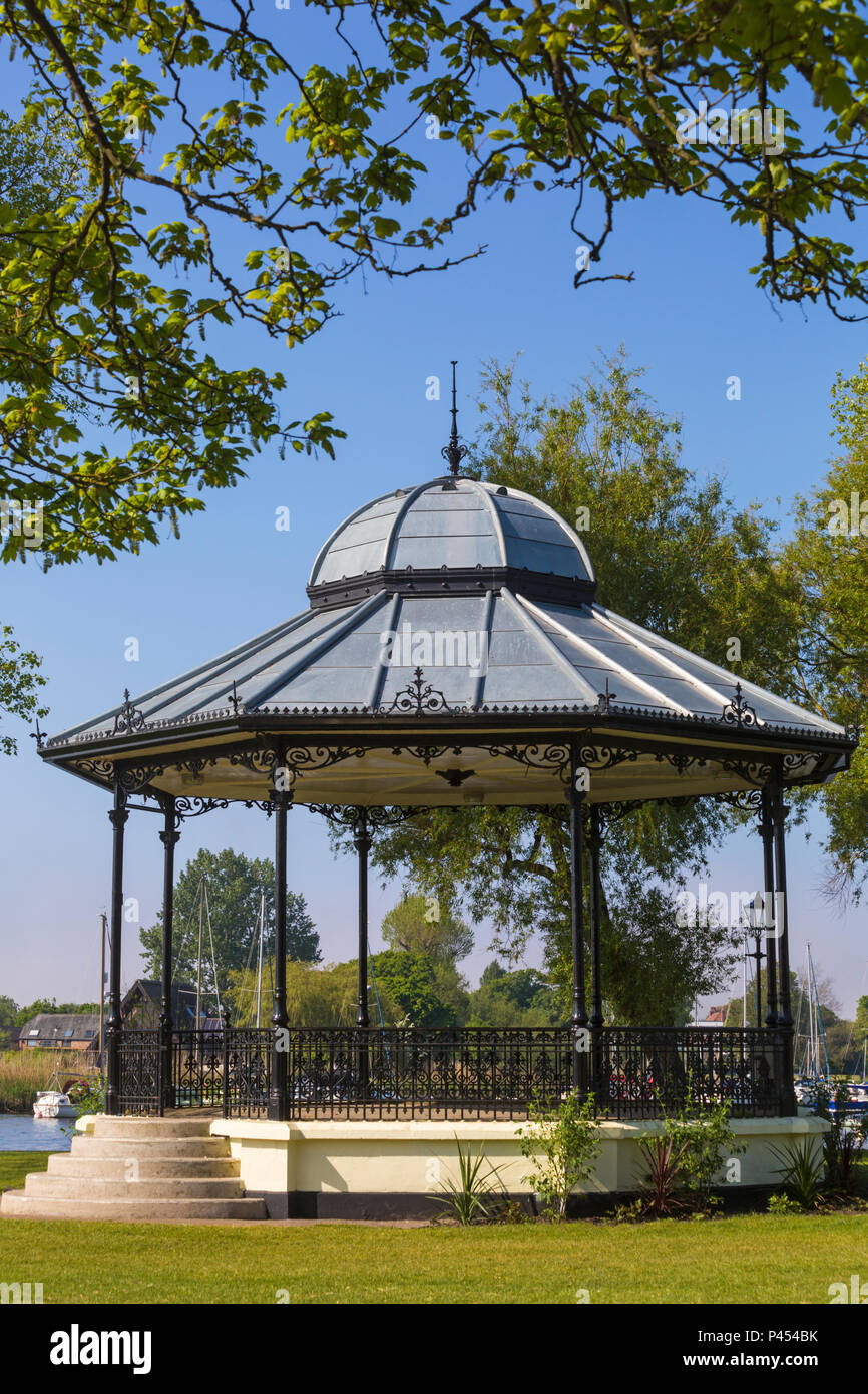 Bandstand at the Quomps, Christchurch Quay, Christchurch, Bournemouth, Dorset UK  in May - Stock Image
