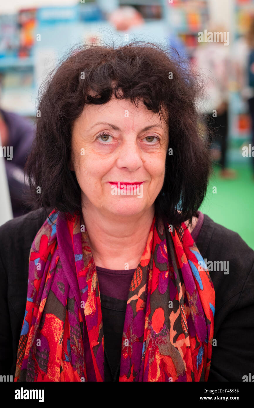 Evelyn Schlag,  Austrian poet and novelist , at the 2018 Hay Festival of Literature and the Arts.  The annual festival  in the small town of Hay on Wye on the Welsh borders , attracts  writers and thinkers from across the globe for 10 days of celebrations of the best of the written word, political though  and literary debate - Stock Image
