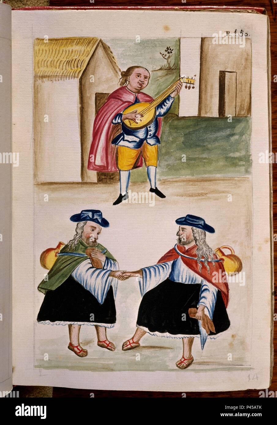 CODICE TRUJILLO DEL PERU - TOMO II E 150 - DANZA DE HOMBRES VESTIDOS DE MUJER - ACUARELA - SIGLO XVIII. Author: Baltasar Jaime Martínez Compañón (1737-1797). Location: PALACIO REAL-BIBLIOTECA, MADRID, SPAIN. - Stock Image