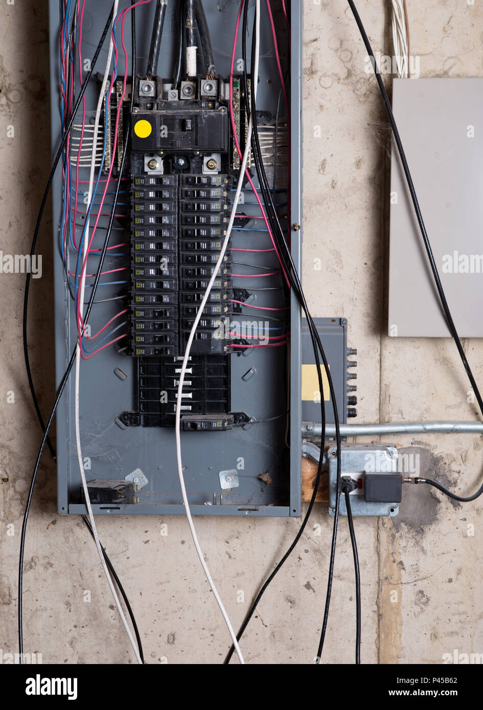 Electrical Service Panel And Branch Circuit Wiring In The Basement House Of Under Remodeling