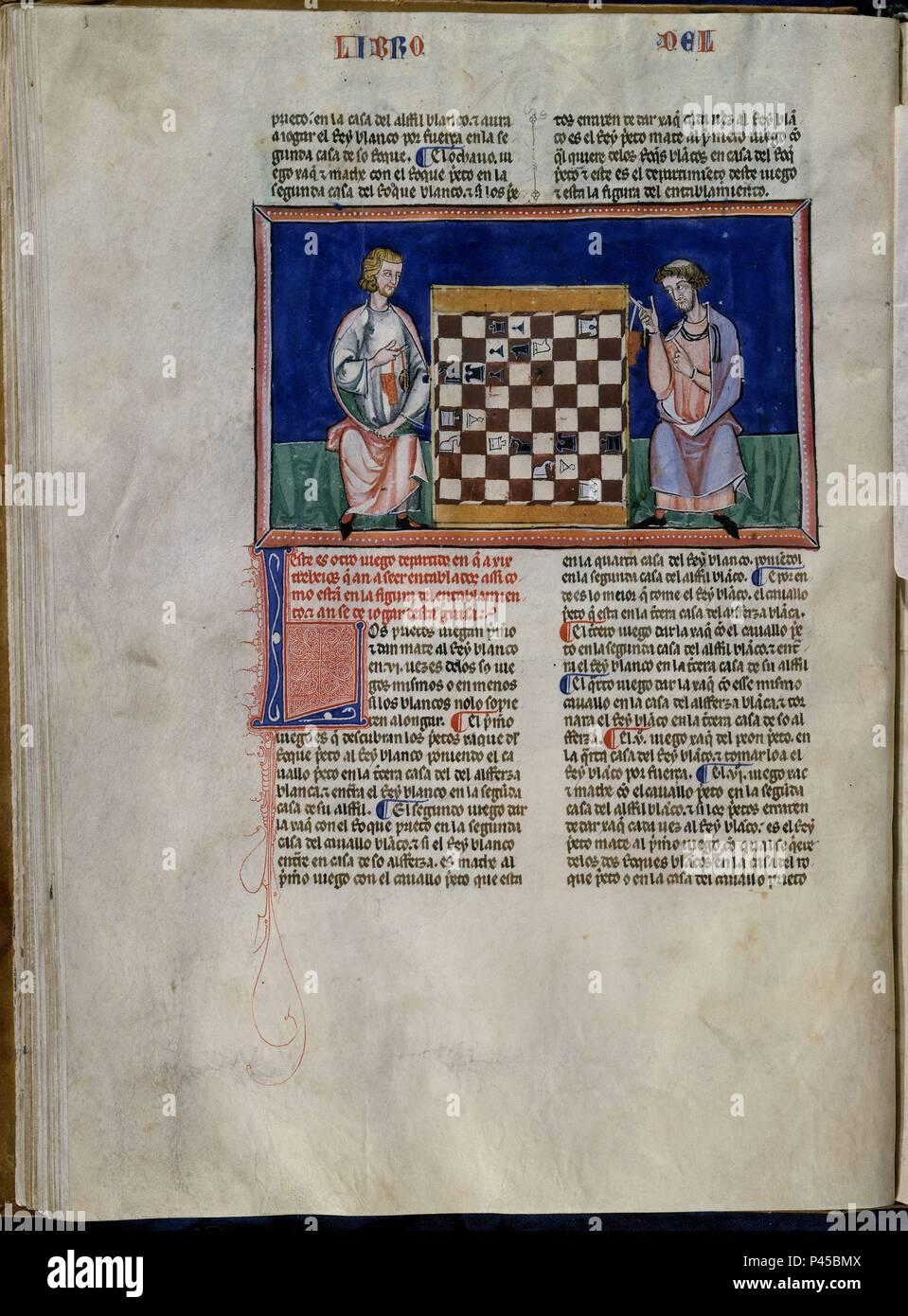 LIBRO DE JUEGOS O LIBRO DEL AJEDREZ DADOS Y TABLAS - 1283 - FOLIO 27V - DOS HOMBRES JUGANDO AL AJEDREZ - MANUSCRITO GOTICO. Author: Alfonso X of Castile the Wise (1221-1284). Location: MONASTERIO-BIBLIOTECA-COLECCION, SAN LORENZO DEL ESCORIAL, MADRID, SPAIN. - Stock Image