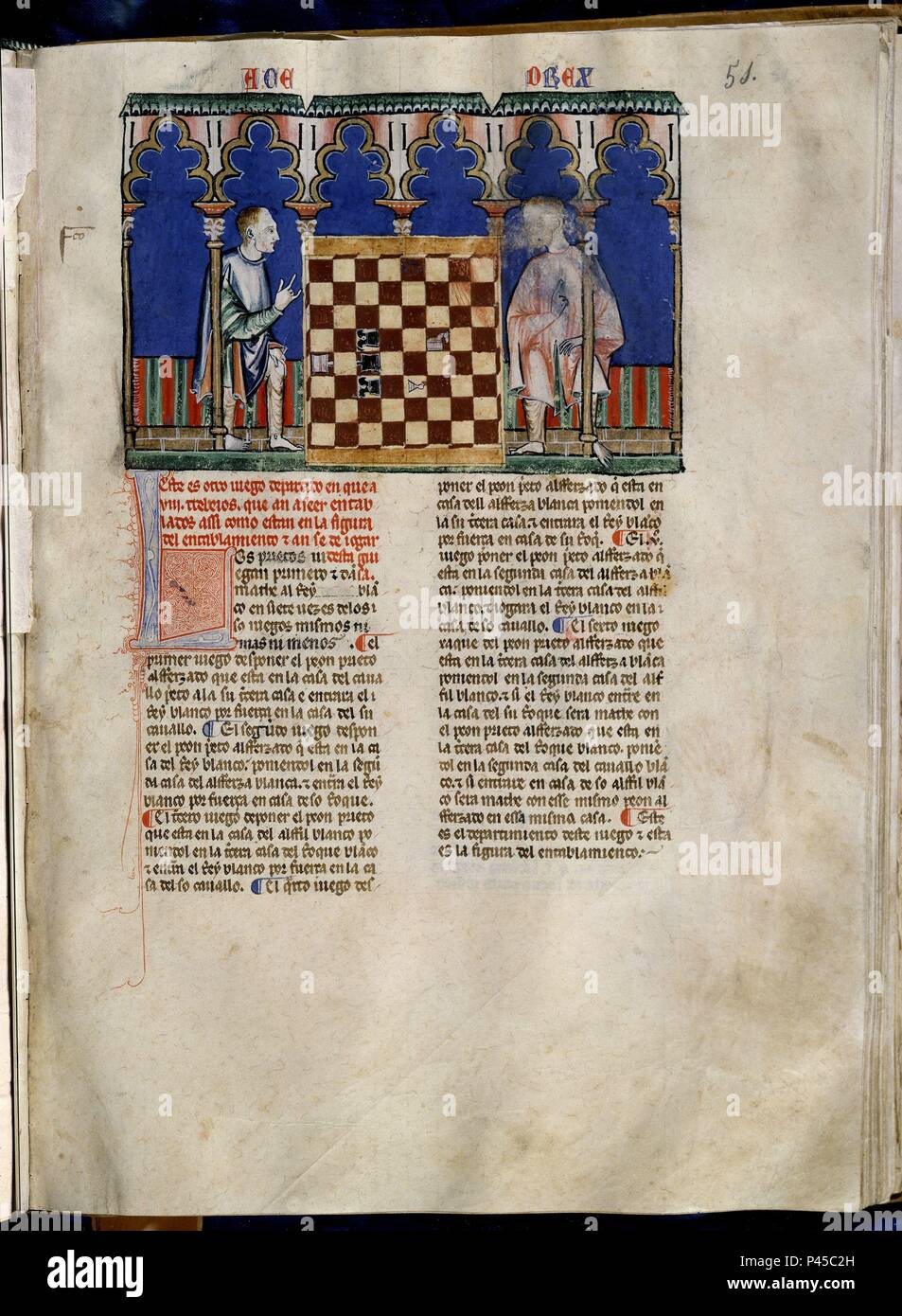 LIBRO DE JUEGOS O LIBRO DEL AJEDREZ DADOS Y TABLAS - 1283 - FOLIO 51R - DOS HOMBRES JUGANDO AL AJEDREZ - MANUSCRITO GOTICO. Author: Alfonso X of Castile the Wise (1221-1284). Location: MONASTERIO-BIBLIOTECA-COLECCION, SAN LORENZO DEL ESCORIAL, MADRID, SPAIN. - Stock Image