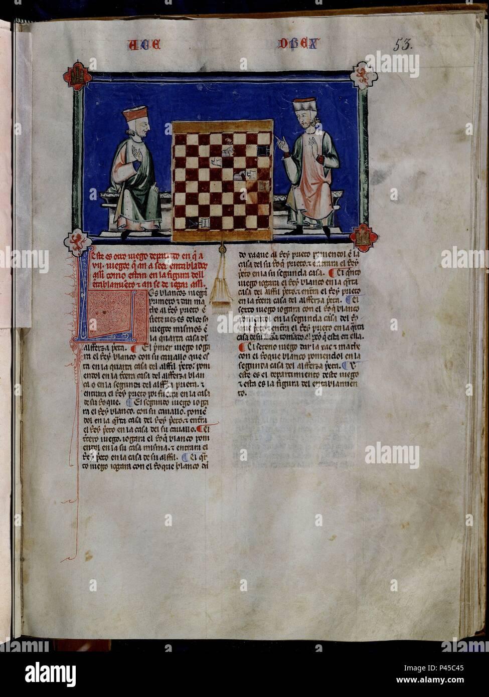 LIBRO DE JUEGOS O LIBRO DEL AJEDREZ DADOS Y TABLAS - 1283 - FOLIO 53R - DOS HOMBRES JUGANDO AL AJEDREZ - MANUSCRITO GOTICO. Author: Alfonso X of Castile the Wise (1221-1284). Location: MONASTERIO-BIBLIOTECA-COLECCION, SAN LORENZO DEL ESCORIAL, MADRID, SPAIN. - Stock Image