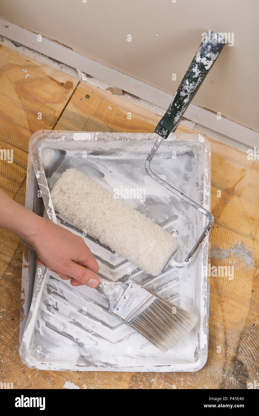 Painting supplies roller, brush, tray liner in house under