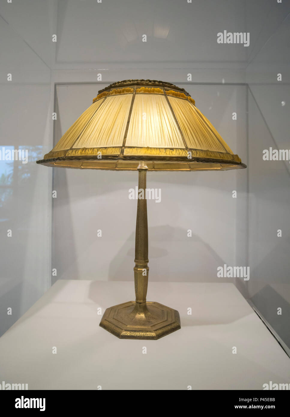 Linenfold Table Lamp by Louis Comfort Tiffany, early 20th century. Stock Photo