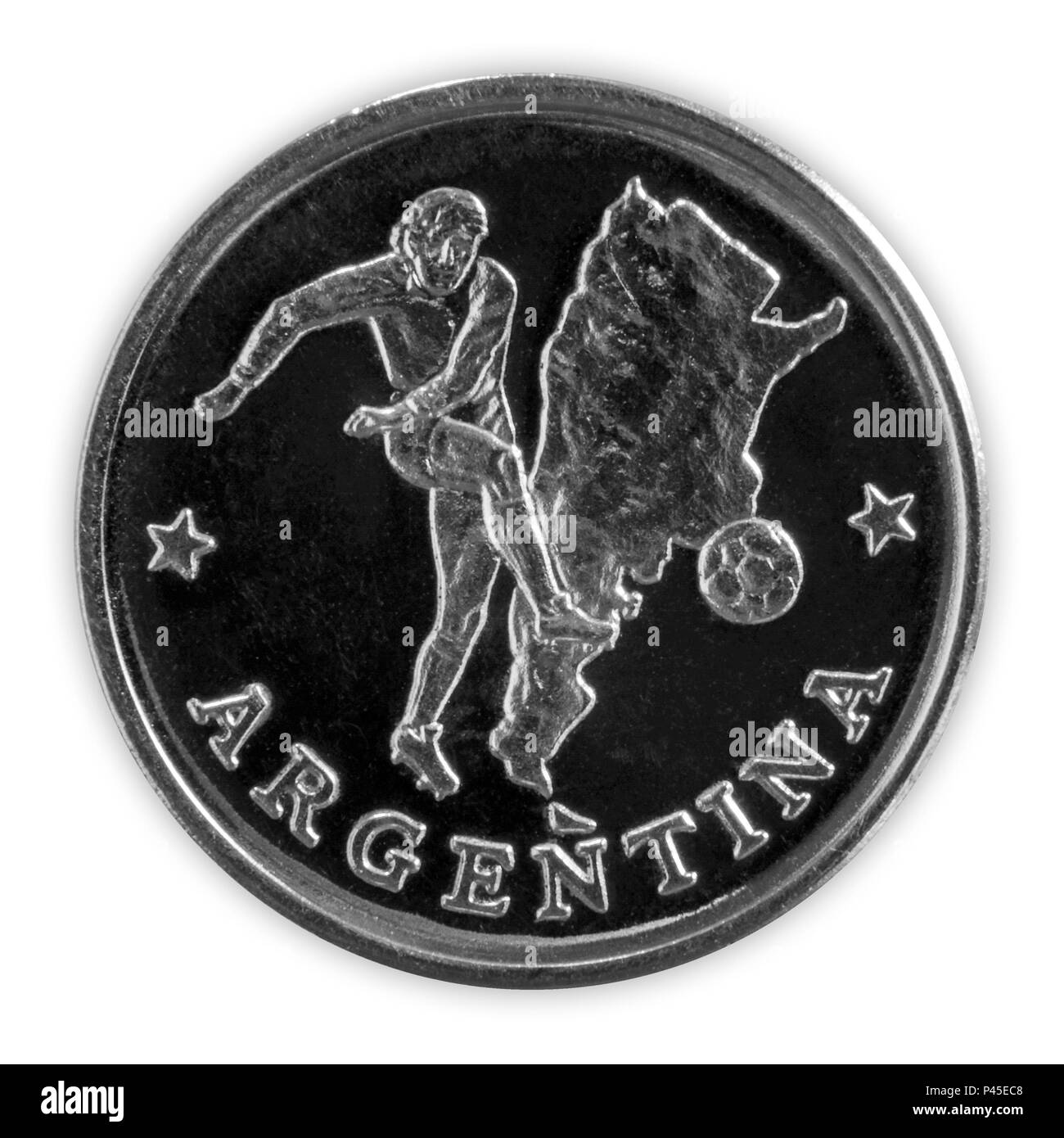 ARGENTINA - June 18, 2018: FIFA World Cup - Commemorative coin featuring a football player in the Argentinian team, titled Argentina, with a map of Ar - Stock Image