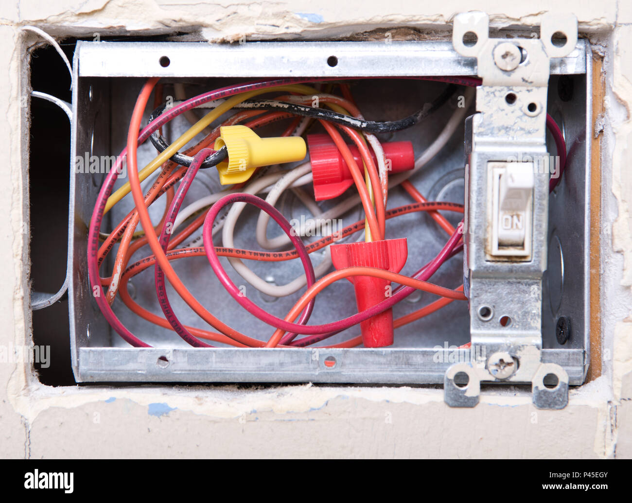 Open House Wiring Box Radio Diagram Structured Enclosure Uk Electrical Light Switch In The Under Remodeling Stock Rh Alamy Com Circuit Wire Inbox